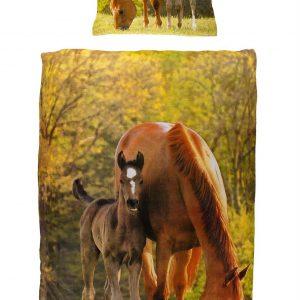 Paarden flanel dekbedovertrek