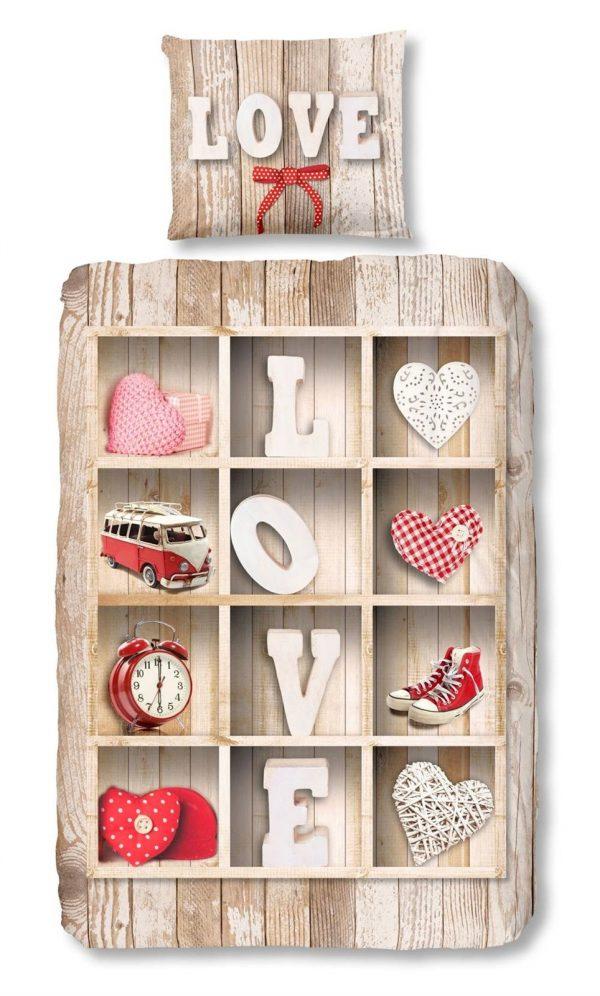 Snoozing Love flanel dekbedovertrek